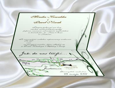 Przykładowe zaproszenie z ozdobną mapką