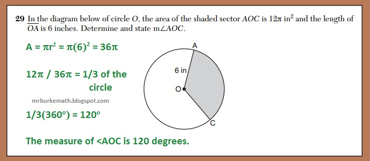 reggcc150629 area circle x, why?) daily regents area of a sector of a circle (june 2015