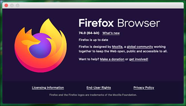 """نافذة """"حول فايرفوكس"""" على جهاز Mac."""