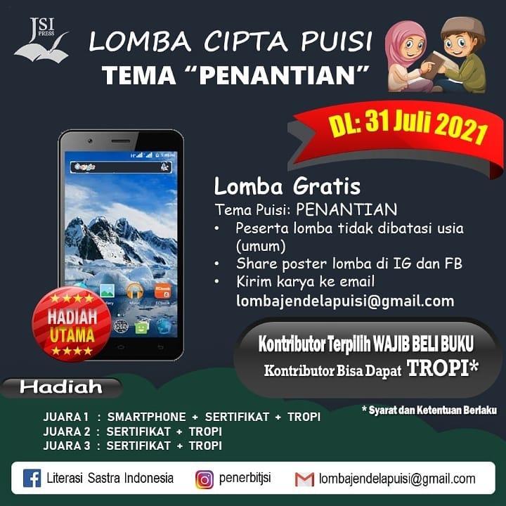 Lomba Menulis Puisi Tema Penantian Berhadiah Smartphone oleh Penerbit Jendela Sastra Indonesia