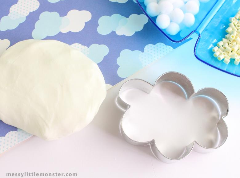 Sensory cloud dough activity for kids