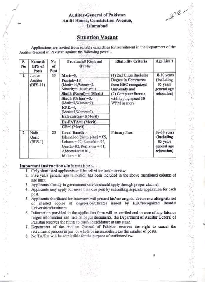 120+Posts in Auditor General Of Pakistan AGP Jobs 2021 For Junior Auditors & more