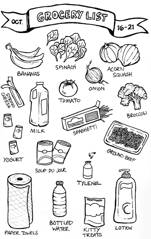 gathered heart: Groceries: An Illustrated List