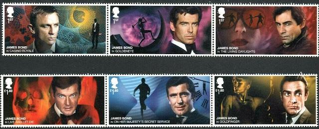 Gb 2020 James Bond Stamp Set