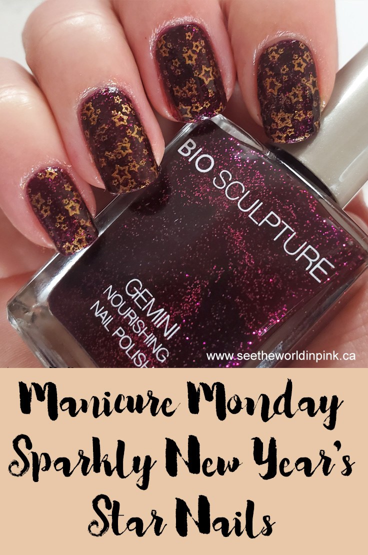 Manicure Monday - New Year's Stamped Star Nails
