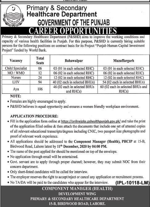 Primary And Secondary Healthcare Department Latest Dec 2020 Jobs in Pakistan Jobs 2020 - Download Job Application Form - pshealthpunjab.gov.pk