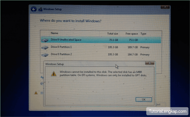 cara mengatasi Windows cannot be installed to the disk. The selected disk has an MBR partition table. On EFI system, Windows can only be installed to GPT disk