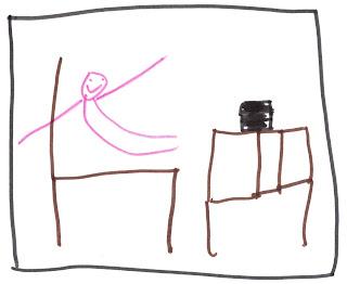 Nixklusionsmännchen, fröhlich, auf Stuhl. Daneben ein Tisch. Auf dem Tisch ein schwarzer Kasten.