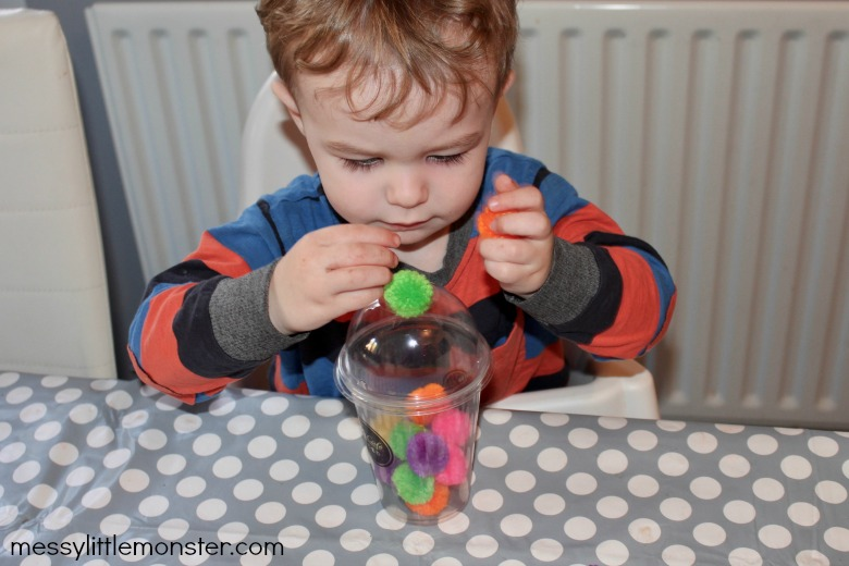 pom pom drop fine motor activity for toddlers