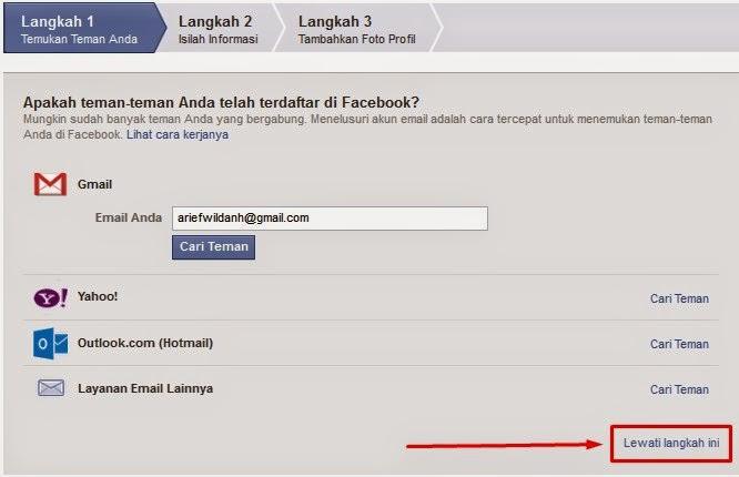 langkah ketiga cara membuat facebook