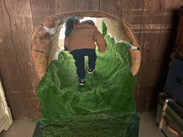 Small boy going through tunnel in Peter Rabbit themed experience