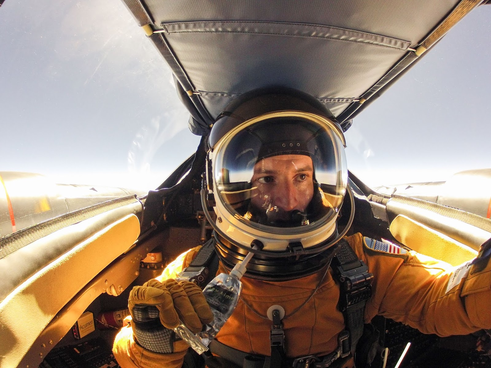 Morgan in training cockpit