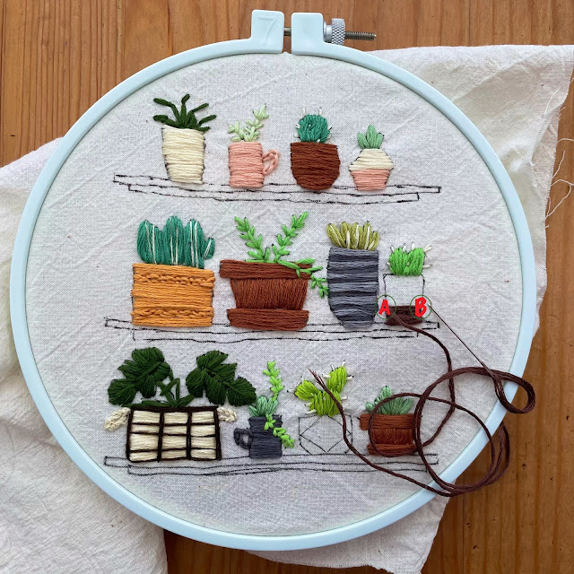 embroidery design plant satin stitch