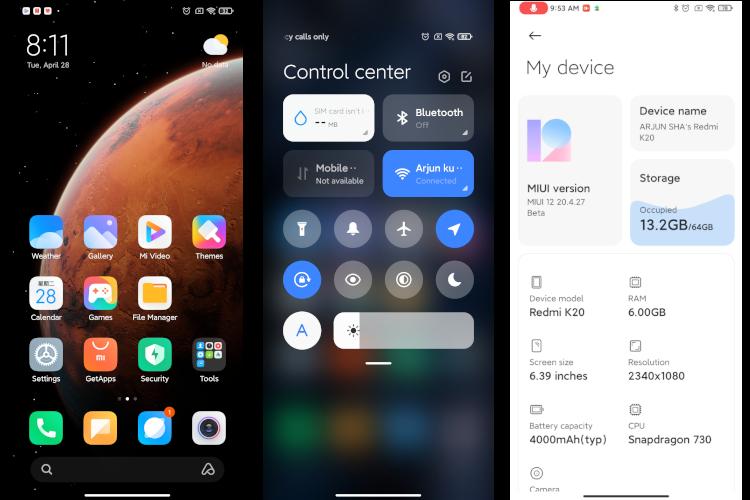 MIUI 12 Centro de Control Xiaomi