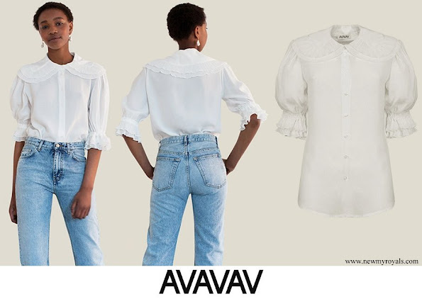 Crown Princess Victoria wore a short sleeve plisse collar blouse from AVAVAV