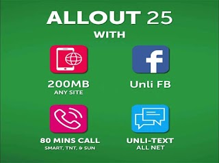 Smart ALL OUT 25, 200MB Surf Data, Unli FB and All Net Text for 2 Days