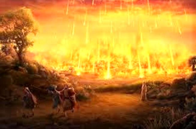 A imagem mostra Ló e suas duas filhas fugindo da chuva de fogo que caiu sobre Sodoma e Gomorra.