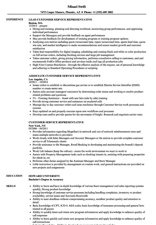 customer service representative resume sample  sample letter