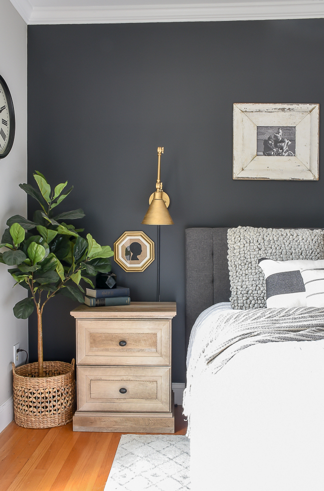Dark and moody modern farmhouse bedroom