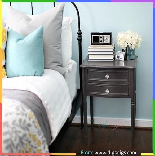 غرف نوم تركواز مع اللون رمادي
