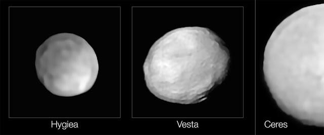 Comparação de tamanhos entre Ceres, Vesta e Higia