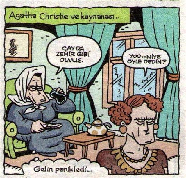 Agatha Christie ve Kaynanası Karikatür