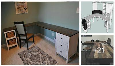 Planos para muebles de madera esquineros de oficina : Escritorios en L