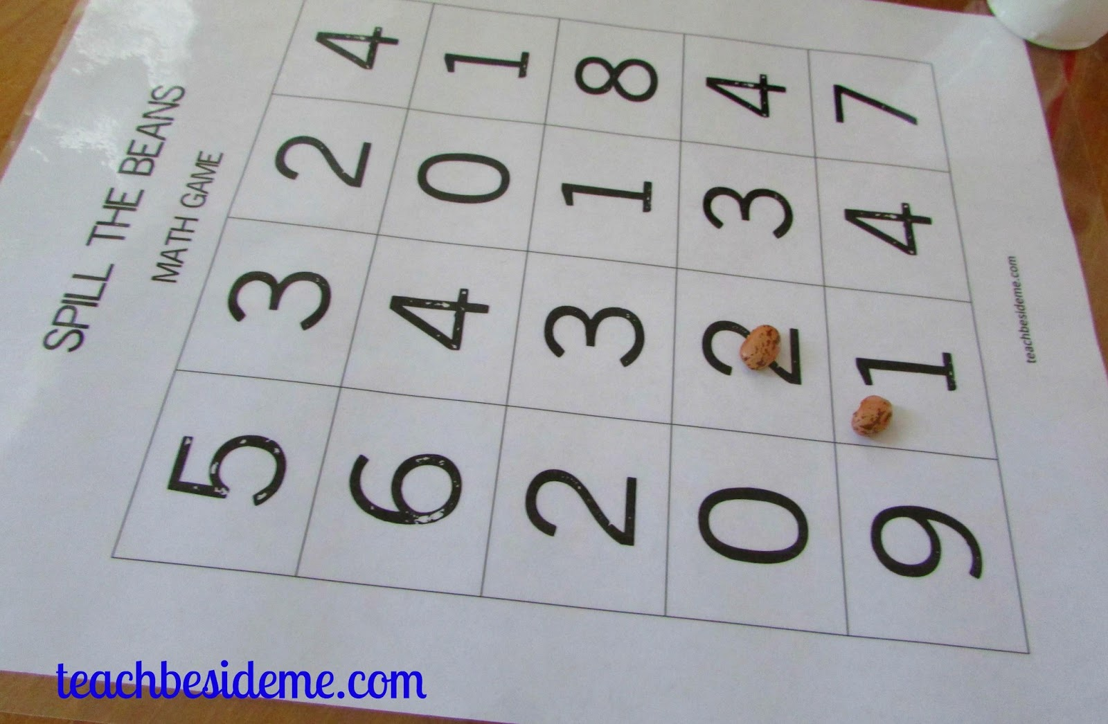Spill The Beans A Math Game Printable