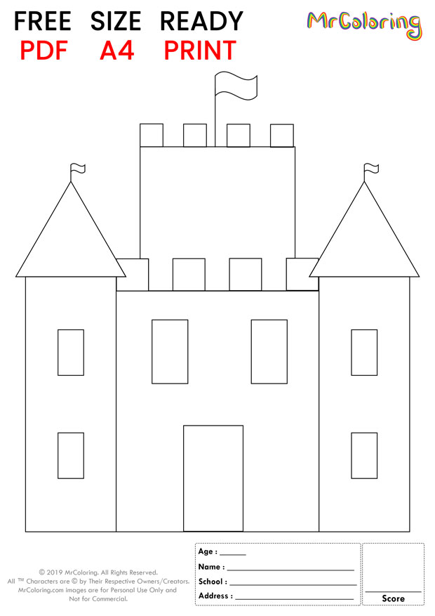 sand castle coloring pages square flat for kids