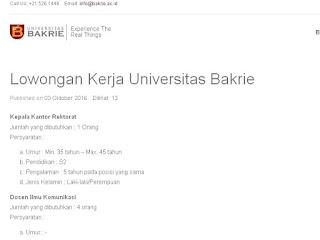 Lowongan Dosen dan Staff Universitas Bakrie