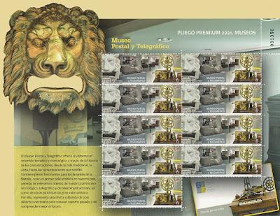 pliego premium, sello, museo, postal, telegráfica