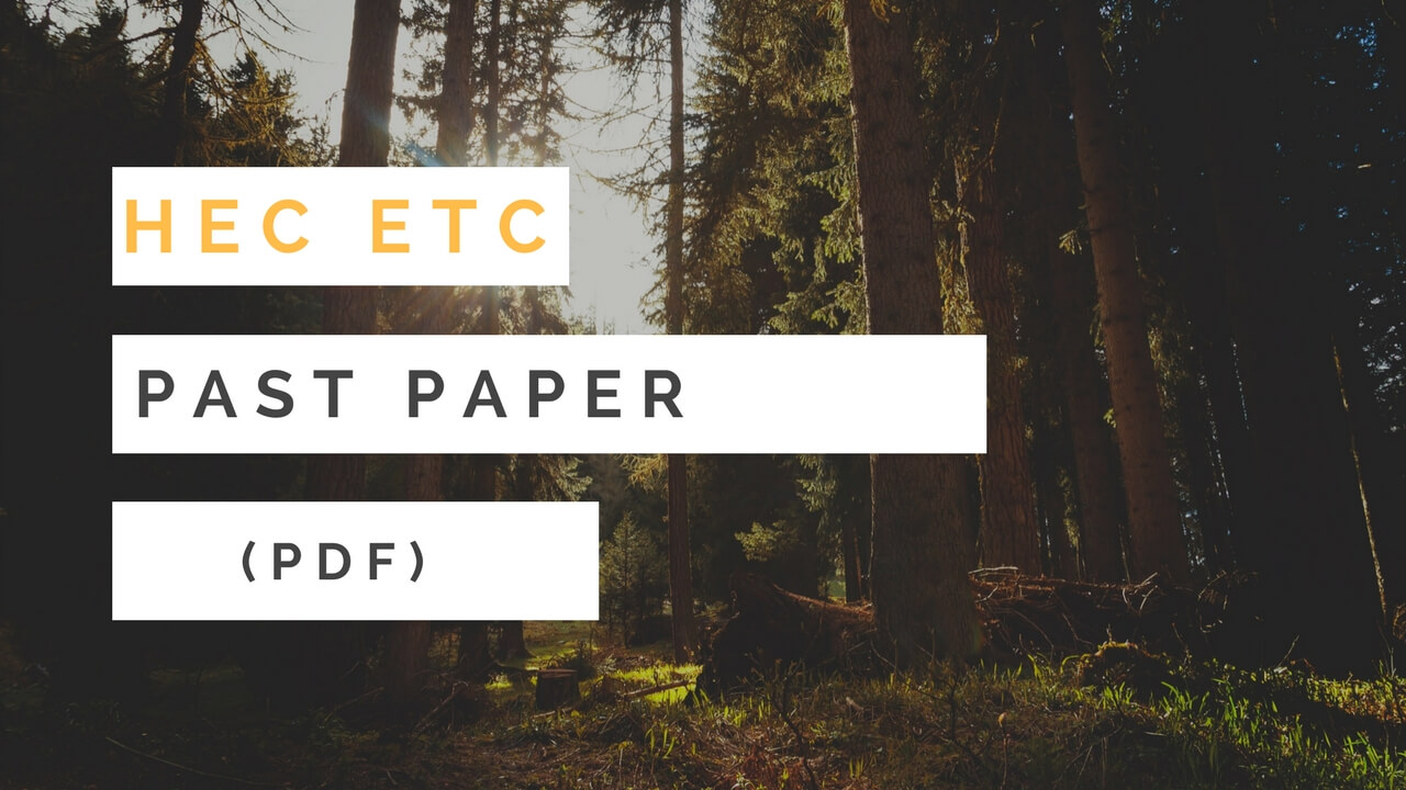 HEC ETC Past Paper with Answer Key is Here [FREE PDF] | Top