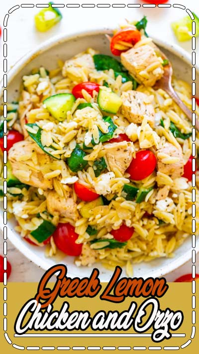 Greek Lemon Chicken and Orzo – EASY, ready in 25 minutes, and feeds a crowd!! Juicy lemon chicken with orzo, fresh spinach, cucumbers, and tomatoes make this a dinnertime WINNER! Great for parties, picnics, and potlucks!!