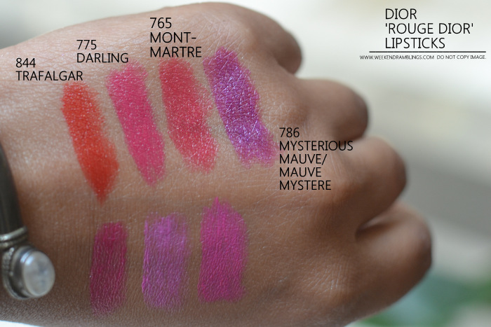 Rouge Dior lipsticks new makeup 844 trafalgar 775 darling 765 montmartre 786 mysterious mauve mystere indian darker skin beauty blog photos swatches