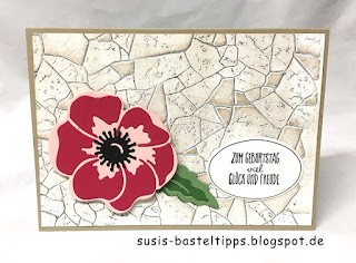 poppy moments dies, stampin up stanzformen mohnblüten, diy, technik. diy stempel, moosgummi, layered, anemone, bunter blumenstrauss, steinmauer, aquarell, hintergrund, transparentpapier, savanne, sab, gratisprodukt, diy prägeform, embossing folder, brusho, distress