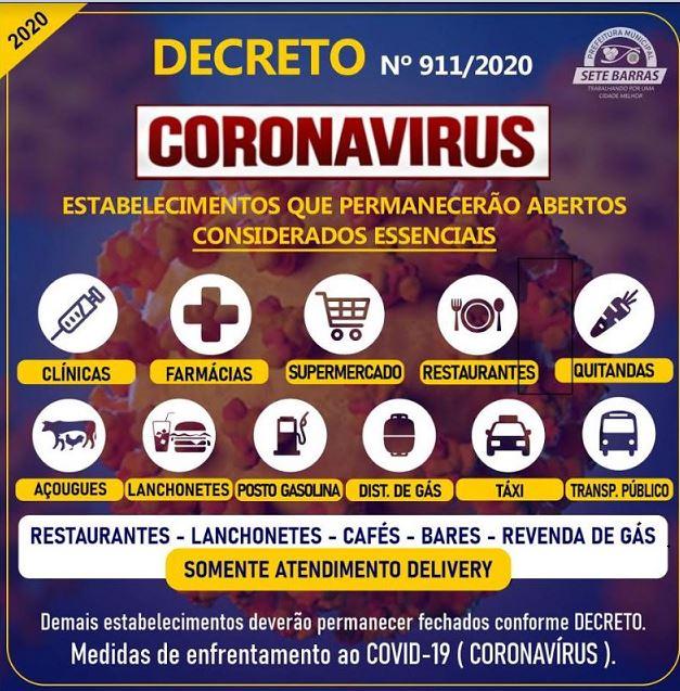 DECRETO DISPÕE SOBRE MEDIDAS DE ENFRENTAMENTO AO COVID-19 - CORONAVÍRUS EM SETE BARRAS