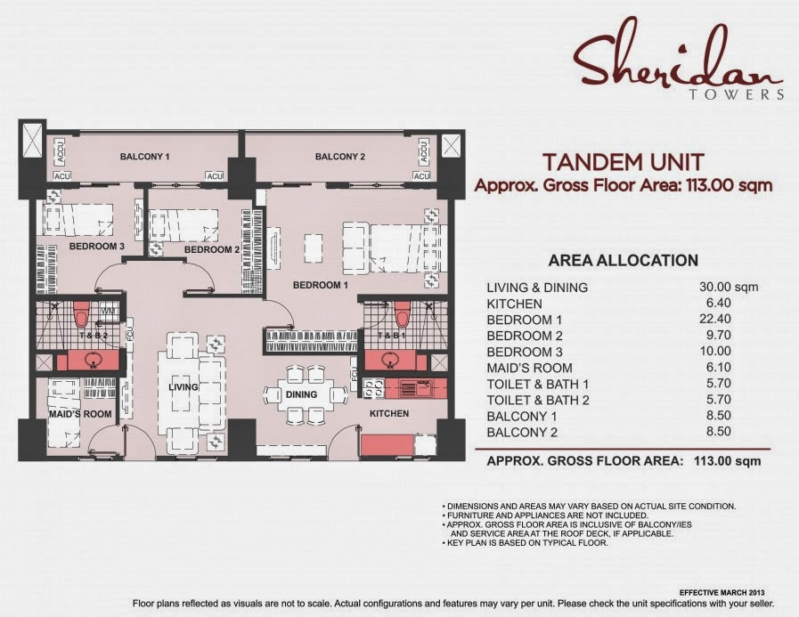 Sheridan Towers 3-Bedroom Tandem Unit 113.00 sqm