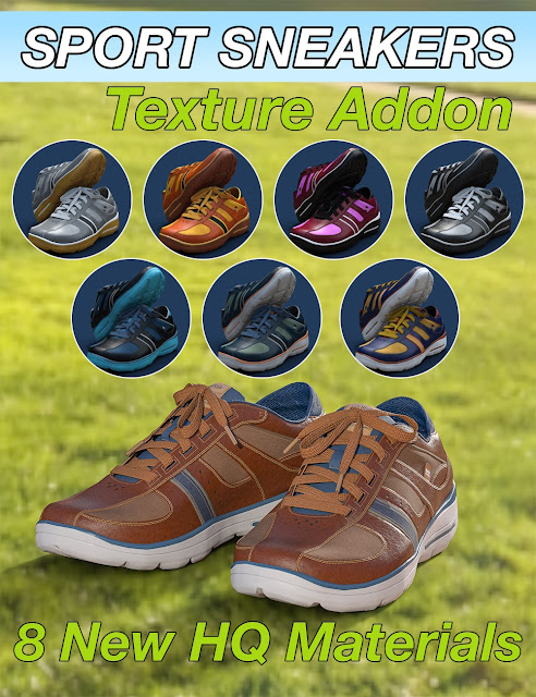 Slide3D Sport Sneakers for Genesis 3 Female Texture Addon