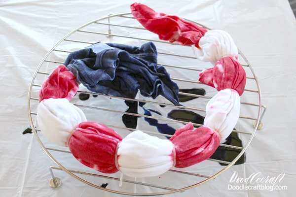 Red, white and blue tie dye shirt