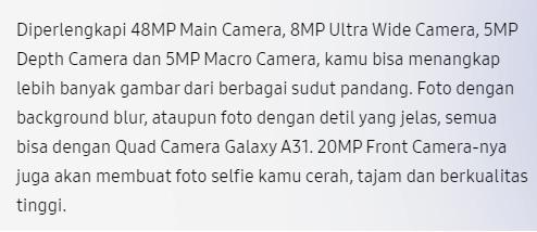 Tentang Kamera samsung A31