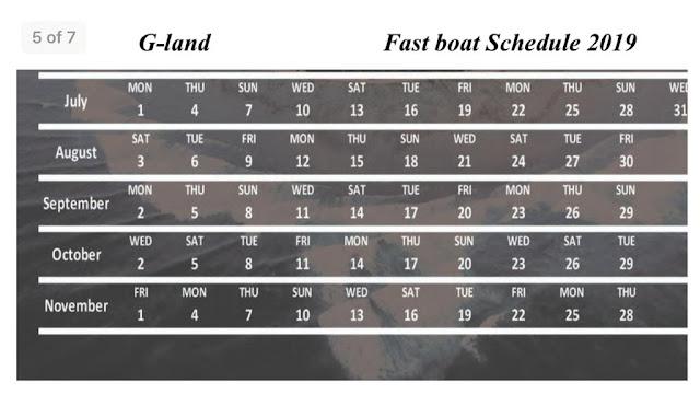 G-land boat scedule
