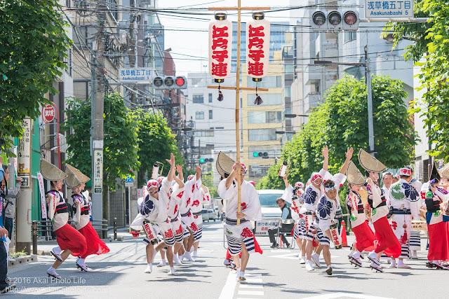 江戸っ子連、マロニエ祭りのスタート地点から粋に飛び出す男踊りの踊り手の写真
