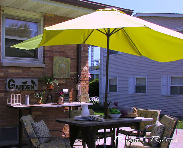 patio decorated for spring