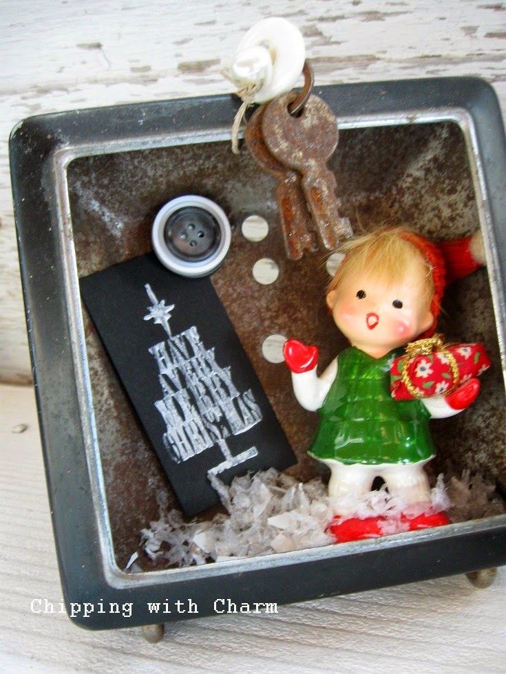 Chipping with Charm:  Clock Vintage Christmas Carolers Shadow Boxes...http://chippingwithcharm.blogspot.com/