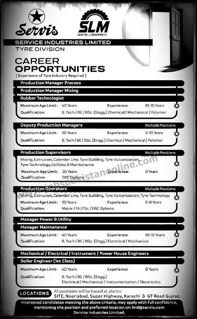 Engineer Jobs In Service Industries Limited 2020-jobspakistanonline.com
