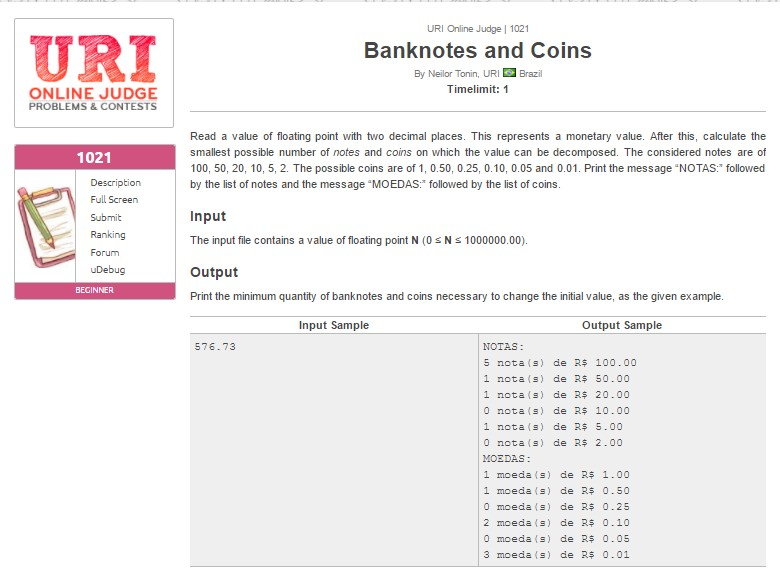 URI Online Judge Solution 1021 Banknotes and Coins - URI 1021 Solution in C, C++, Java, Python and C#