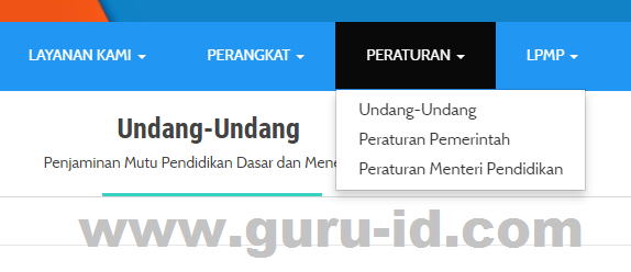 gambar menu peraturan di web PMP kemdikbud