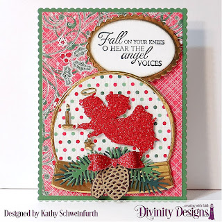 Custom Dies: Angel, Snow Globe,  Small Bow, Pine Branches, Pinecones, Scalloped Ovals, Ovals, Scalloped Rectangles, Rectangles Stamp Set: Good Tidings Paper Collection: Holly Jolly