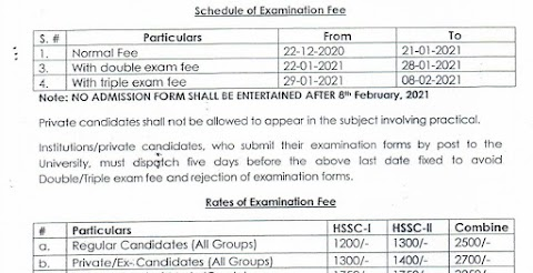 KIU exam 2021 HSSC-| & || Last Date Of Form Submission