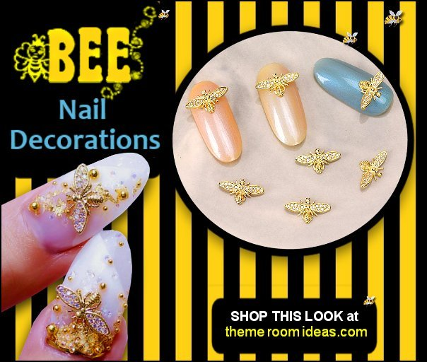 Bee Nail Art Decorations bees nail Jewelry Accessoires bumble bee nail designs bee nail decal stickers  bee nails - Bee nail art - bumble bee nails - black and yellow nails - honey bee nails - bee themed nails - Winnie the Pooh nail design - Winnie the Pooh nail art - bee nail decals